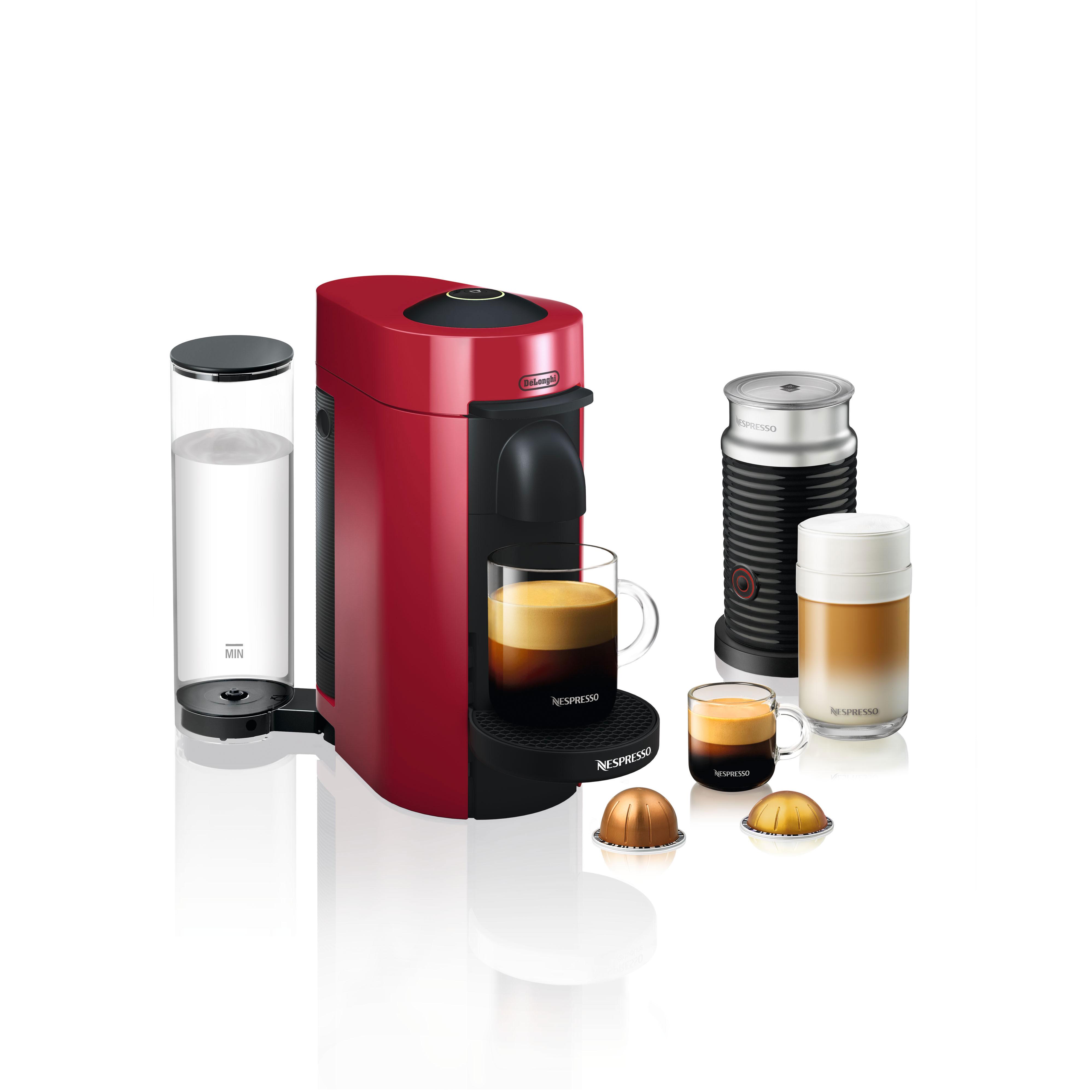 Vertuoline Red Nespresso Capsule Machine with Aeroccino by Breville