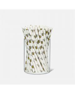 Ensemble de 100 pailles à cocktail en papier avec abeilles