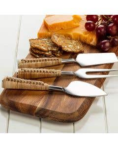 Set of 3 Cheese Knives with Rattan Handle