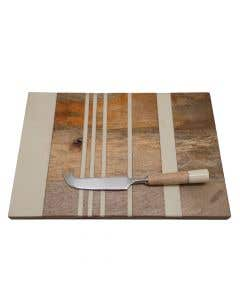 Stripe Board With Cheese Knife