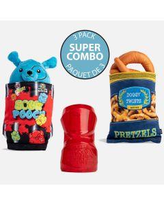 Paquet de 3 jouets pour chiens - « Sour Pooch », « Doggy Twists » et « Crusha »