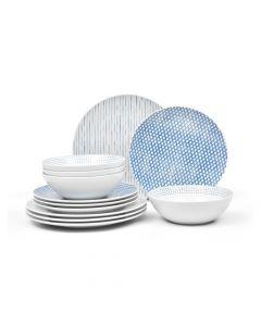Blue 12-Piece Dinnerware Set
