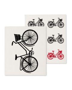 Ensemble de 2 lavettes suédoises réutilisables à motif de bicyclette