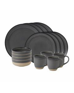 16-Piece Grey Brushed Glaze Dinnerware Set
