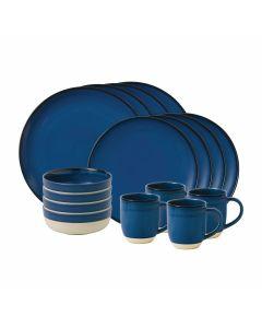 16-Piece Cobalt Blue Brushed Glaze Dinnerware Set