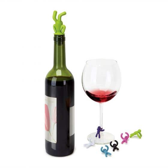 Drinking Buddy Wine Charms and Topper Set