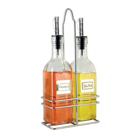 Oil & Vinegar Cruet Set with Caddy - French