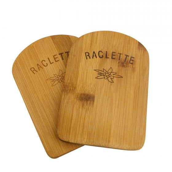 Set of 2 Swiss Cross Bamboo Trivets for Raclette Pan