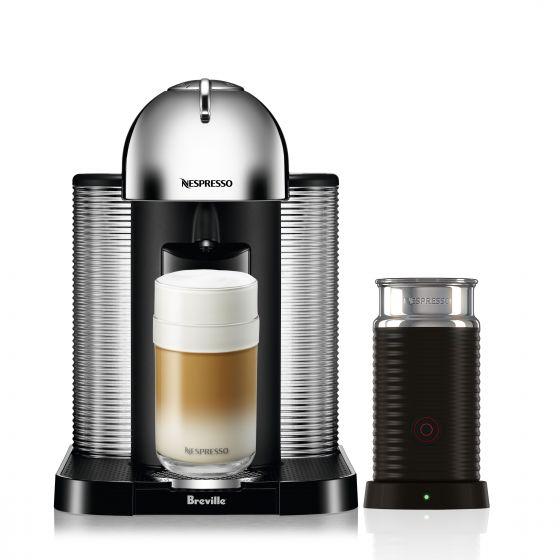 Machine à capsules Nespresso «Vertuo» chrome avec Aeroccino par Breville