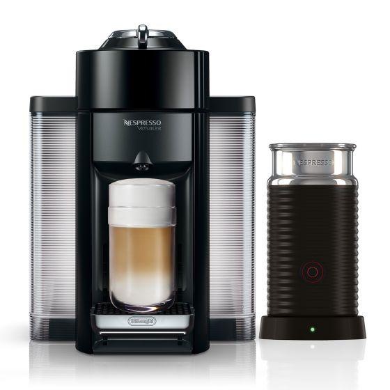 Evoluo Black Nespresso Coffee Capsule Machine with Aeroccino 3 by Delonghi