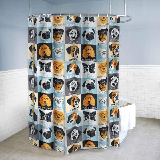 Dogs & Glasses Shower Curtain