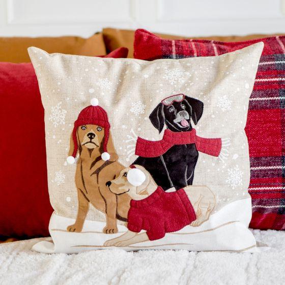Dogs & Snow Cushion
