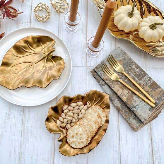 Gold Bark and Leaf Serveware Collection
