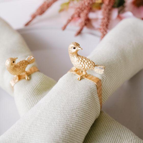 Set of 4 Gold Bird Napkin Rings