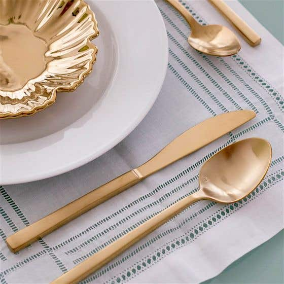 Arezzo Brushed Gold 20-Piece Flatware Set