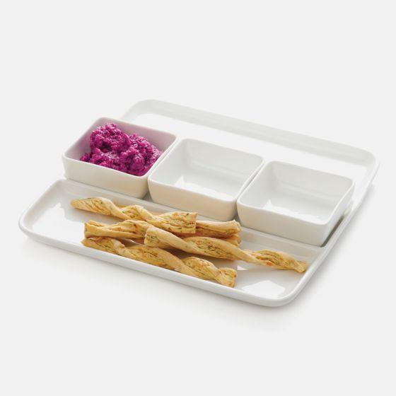 White Basics 4-Piece Dip Bowls and Plate Set