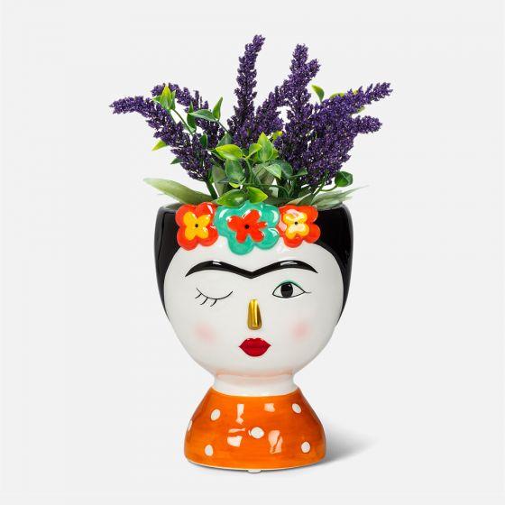 Vase Frida Kahlo avec fleurs - 6,5 po