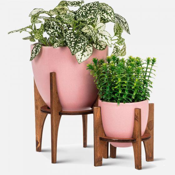 Cache-pots avec support en bois