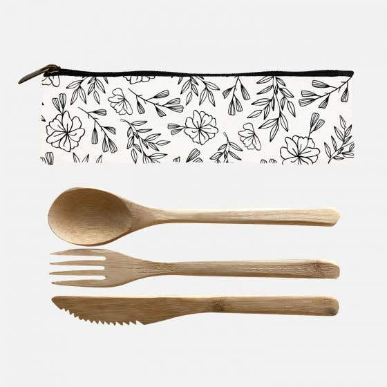 Set of 3 Bamboo Utensils with Flower Motif Pouch