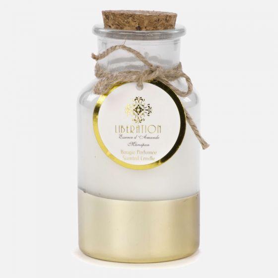 Bougie parfumée essence d'amande Liberation en bouteille