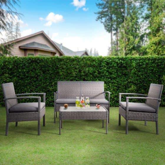 Bayia 4-Piece Patio Furniture Set - Grey
