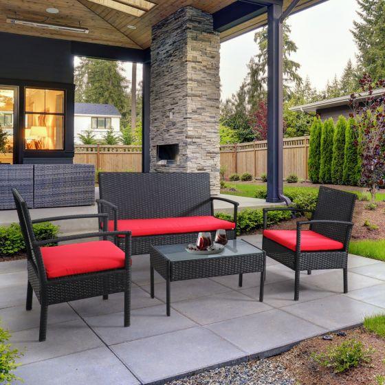Ensemble de meubles de patio 4 pièces «Bayia» - noir / rouge