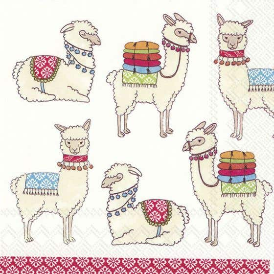 Happy Llamas Table Napkins