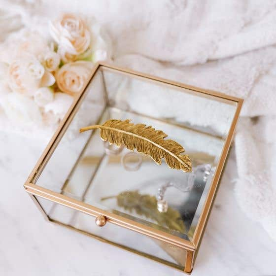 Golden Feather Square Jewelry Box by Torre & Tagus
