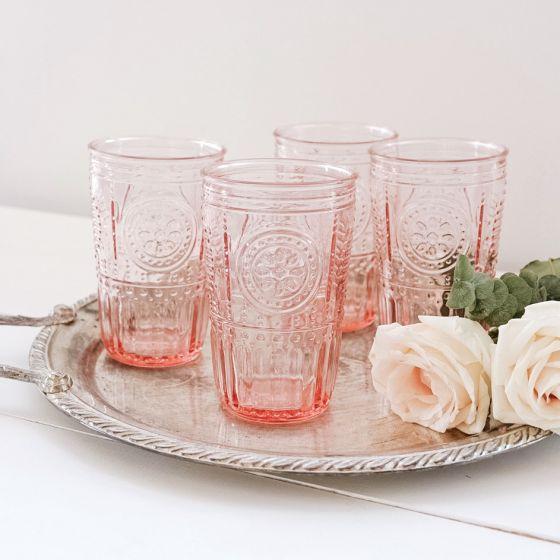 Ensemble de 4 verres à eau «Romantic» - rose