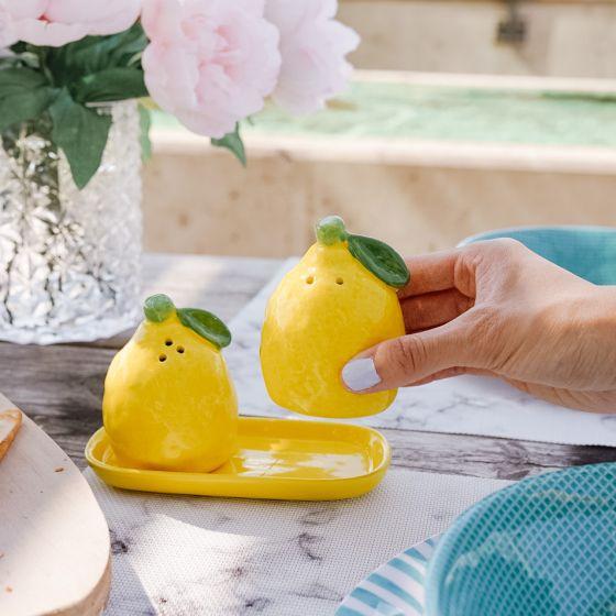 Lemon Salt & Pepper Shaker with Tray