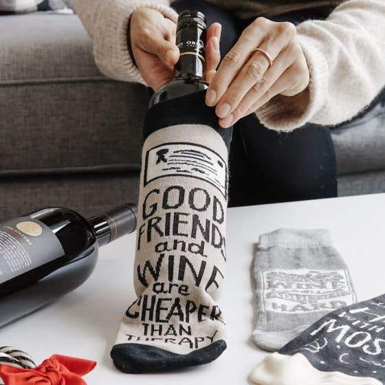 Good Friends and Wine Cheaper Than Therapy Wine Bag