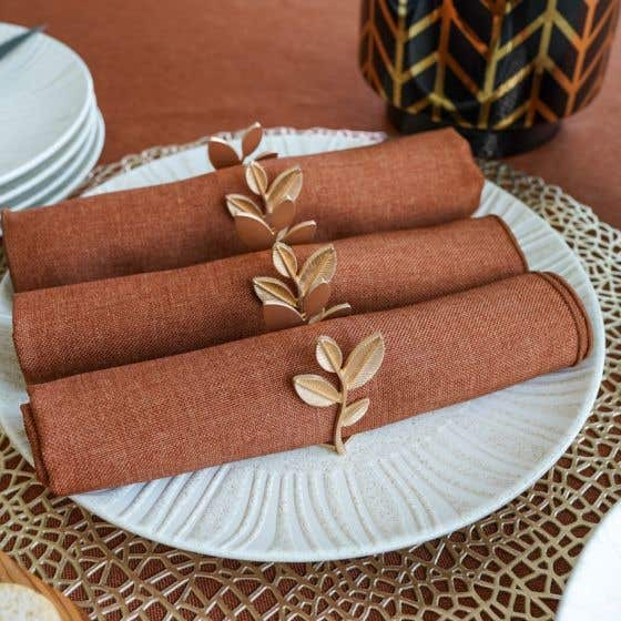 Set of 4 Orchid Gold Napkin Rings