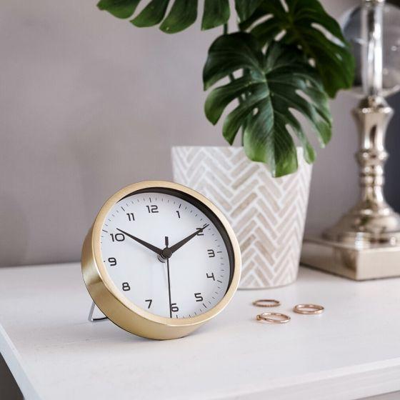 Satin Gold Radius Disc Alarm Clock