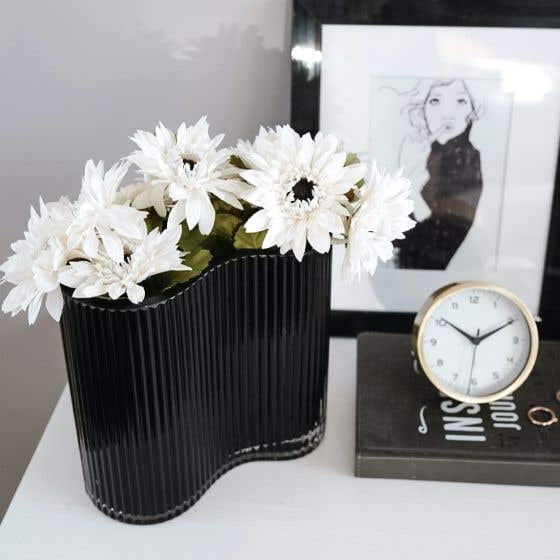 Contour Black Ribbed Glass Vase by Torre & Tagus