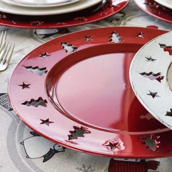 Red Plate with Trees
