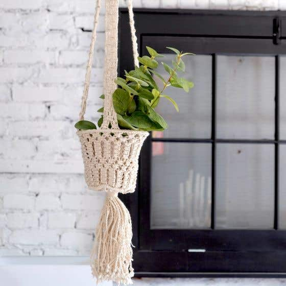 Macrame Woven Basket Hanging Planter by Torre & Tagus