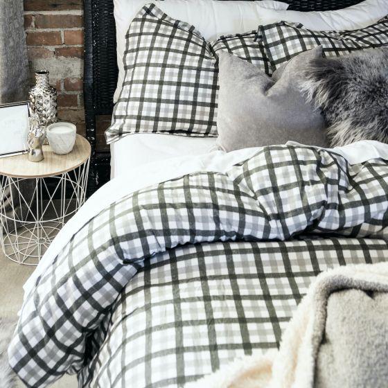 Check Flannel Duvet Cover Set