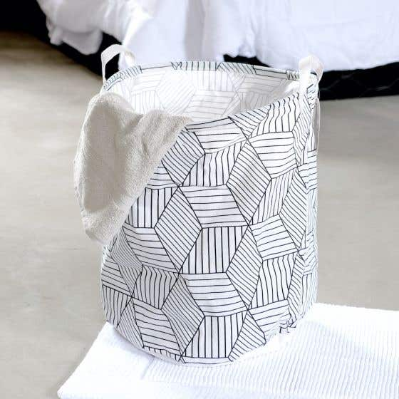 White Print Laundry Hamper
