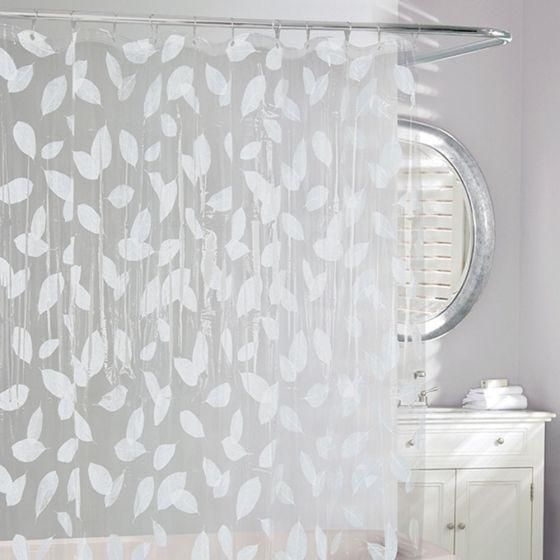 Harvest Leaf White Vinyl Shower Curtain