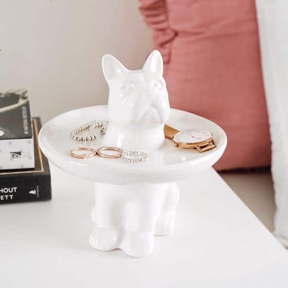 Assiette à bijoux sur pied chien