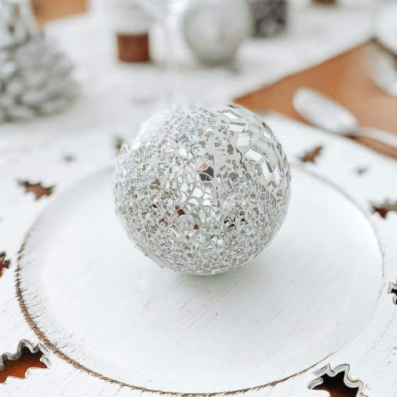 Mosaic Christmas Ball with Snowflake - 3""