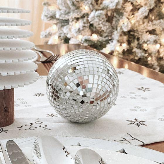 "Silver Mosaic Christmas Ball - 3"""