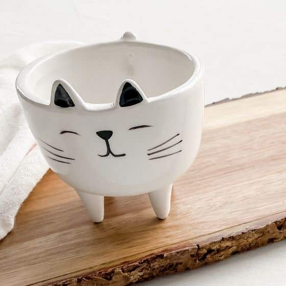 Cache-pot chat en céramique