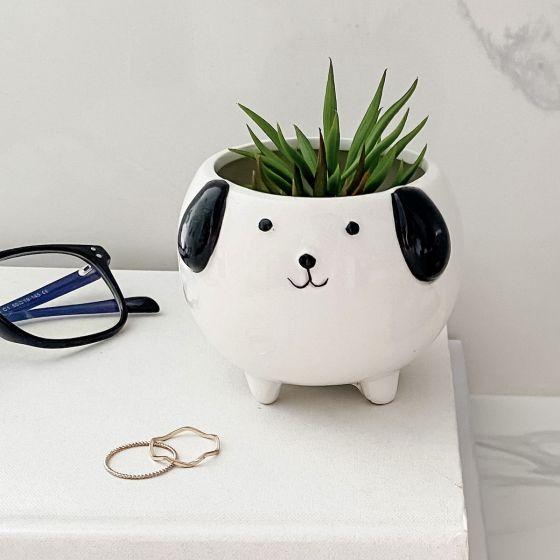 Cache-pot chien en céramique