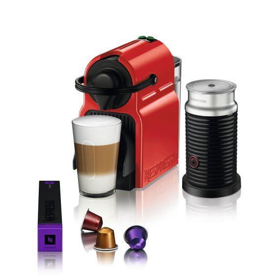 Inissia Red Nespresso Capsule Machine with Aeroccino by Breville