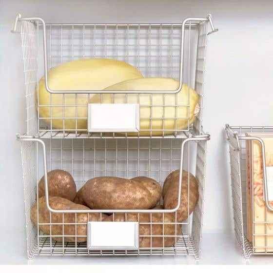 Interdesign Classico Stackable Large Pantry Basket with Label Holder