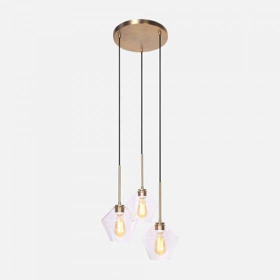 "Brushed Gold 3-Bulb Pendant Lamp 7"" by Luce Lumen"