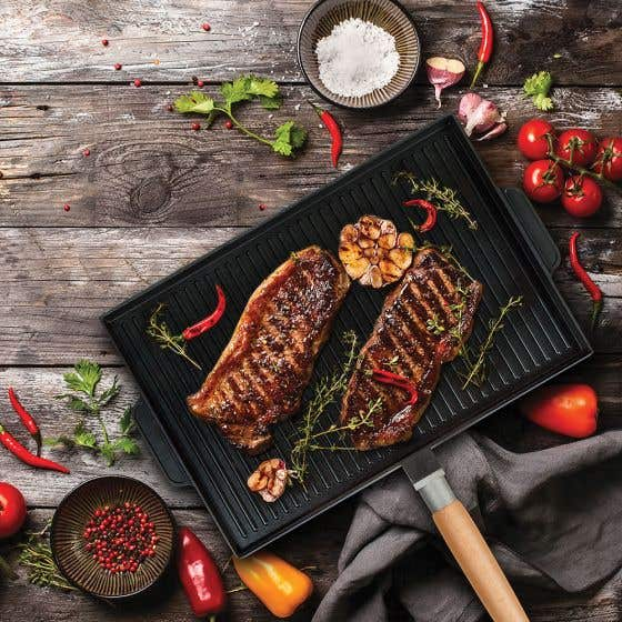 MasterPan 2-in-1 Die Cast Aluminum Grill & Griddle with Handle