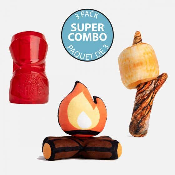 Dog's Pack of 3 Toys - Marshmallow, Campfire and Crusha