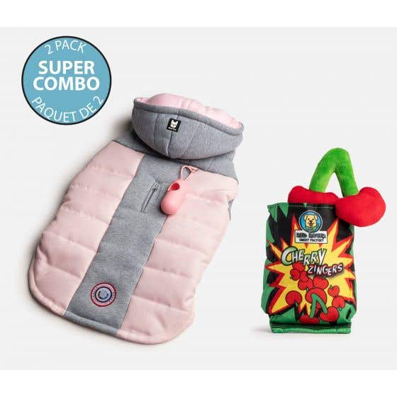 Dog's Quilted Puffer Jacket with Plastic Bag Dispenser and Toy Combo